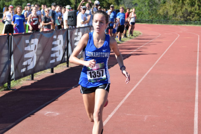 Nelle Ray, with plenty of lead, at the end of the freshman girls' race. Photo: Charlie Ban