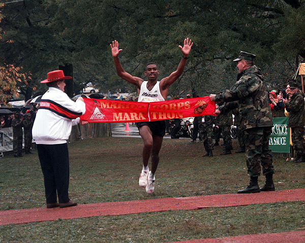 Darrell General (civilian), winner of the men's category for the 22nd Marine Corps Marathon, crosses the finish line at 2:18.20.
