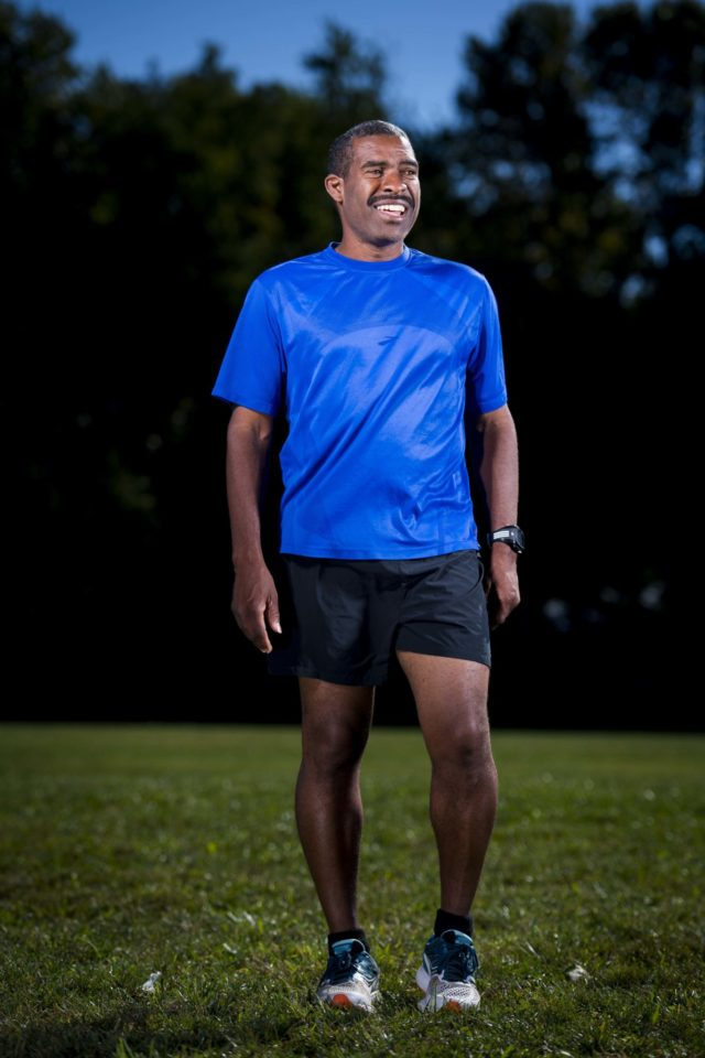 Look for Darrell wearing this shirt Sunday during the Marine Corps Marathon. He's shooting for the 3:20s and be wearing bib number 23533. Photo: Doug Stroud