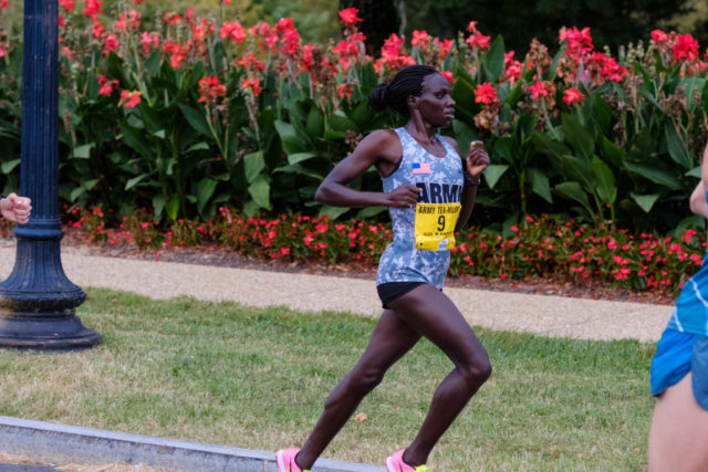 Army Ten-Miler winner Susan Tanui approaches the two-mile mark. Photo: Dustin Whitlow/DWhit Photography