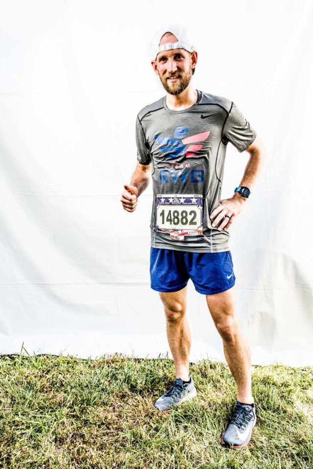 Photo By Doug Stroud Brent Shirley of Louisiana now residing in Ohio finished with a time of 3:08:49. This was his first Marine Corps Marathon but his 44th marathon in 33 states at the age of 31. Shirley's goal is to compete in a marathon in every state across the US.