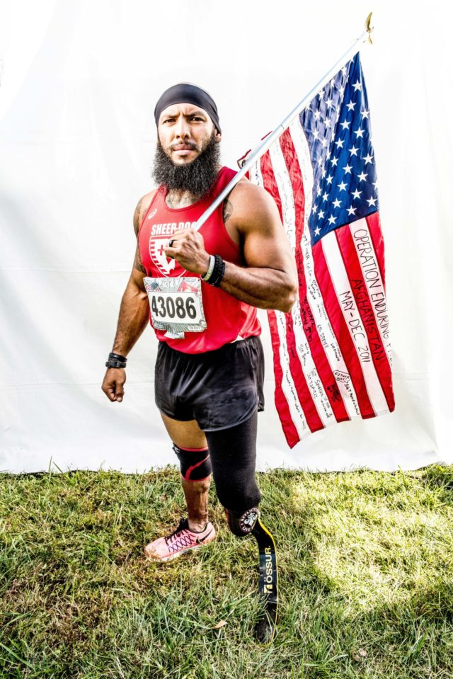 "Photo By Doug Stroud Jose Louise Sanchez retired Marine Corps of ten years a veteran of Iraq and Afghanistan from San Antonio, TX finished the 2017 Marine Corps Marathon 10K with a time of 54:38. During a ground patrol in October of 2011, Sanchez stepped on an IAD losing his left leg. When asked about his life, Sanchez responded, ""I try to motivate and inspire others to push their own limits, push through adversity, and rise above"". Sanchez ran his first marathon, the Marine Corps Marathon in 2015, the Boston Marathon in 2016 and 2017 and the 2017 Marine Corps Marathon 10K."