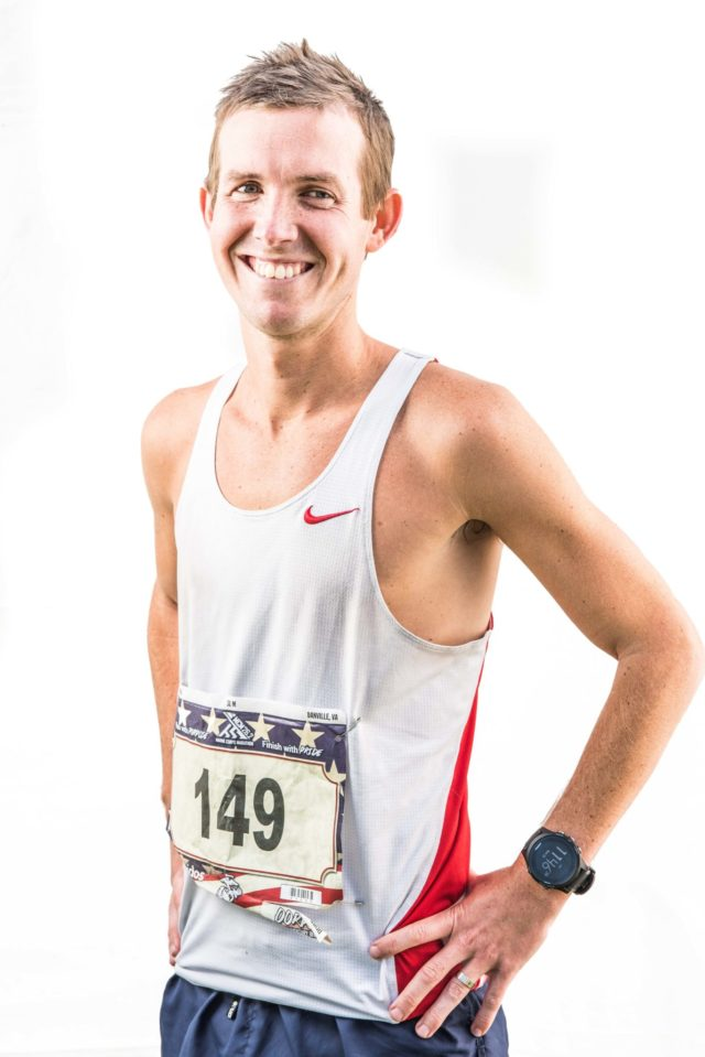 "Photo By Doug Stroud Wesley Turner, (31) of originally from Durham, NC resides with his wife and newborn child in Danville, VA finished in second place in the 2017 Marine Corps Marathon in the Mens category with a time of 2:27:35. Competing in his seventh Marine Corps, ""I was trying to set a PR of 2:25, I was a little off that, but you know it happens""."